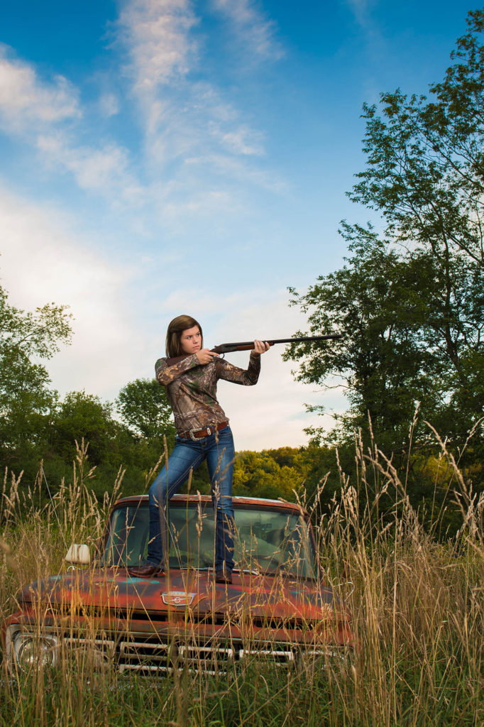 springville senior photos, outdoor senior pics, gun, truck