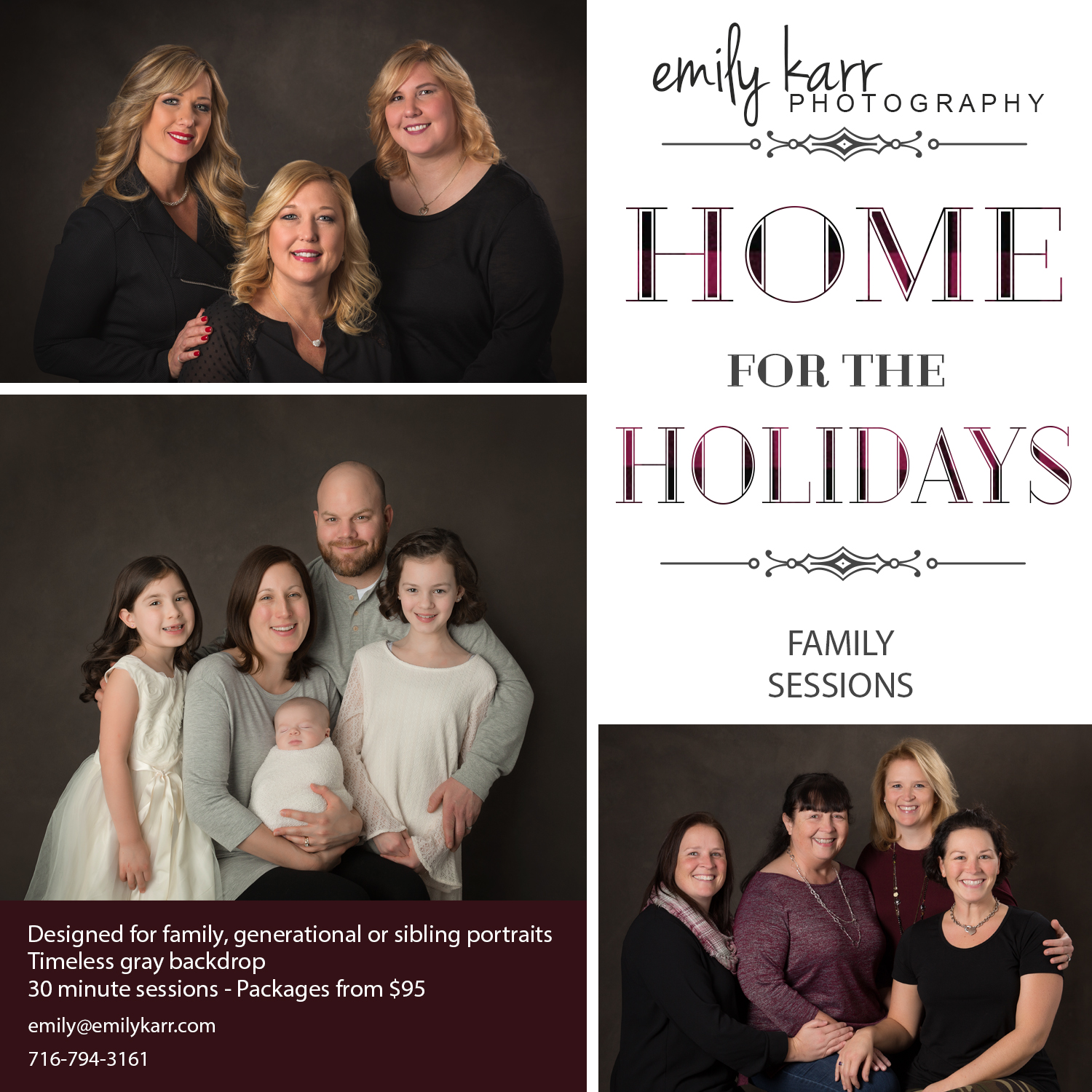family portrait session, generational portraits, holiday photos